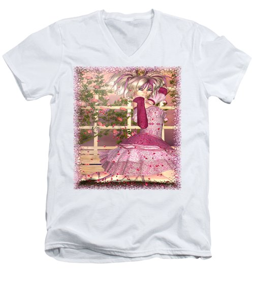 Breath Of Rose Fantasy Elf Men's V-Neck T-Shirt by Sharon and Renee Lozen