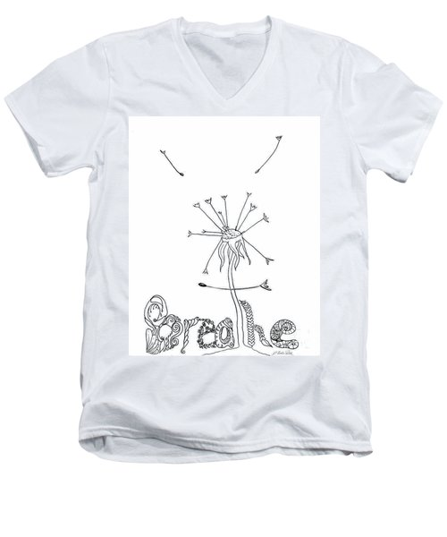 Men's V-Neck T-Shirt featuring the drawing Breathe by D Renee Wilson