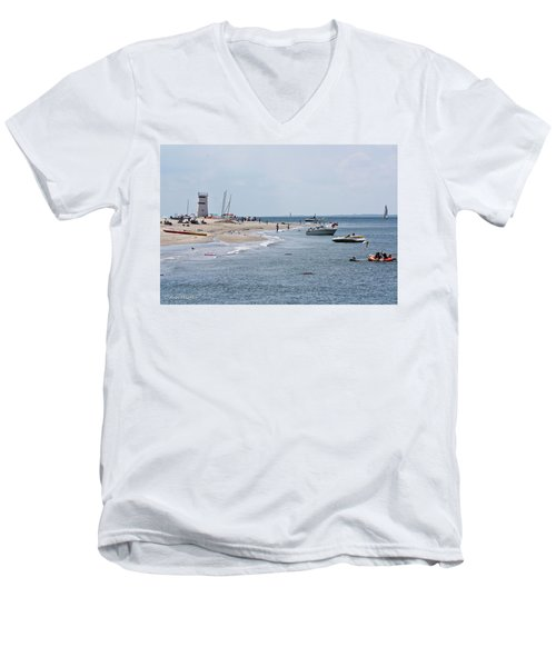 Men's V-Neck T-Shirt featuring the photograph Breezy Point Lighthouse by Ann Murphy