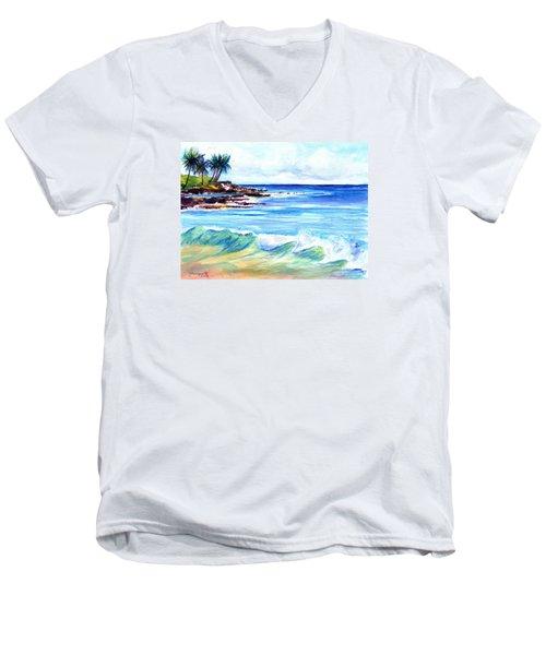 Brennecke's Beach Men's V-Neck T-Shirt by Marionette Taboniar