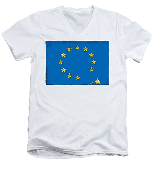 Men's V-Neck T-Shirt featuring the drawing Brexit Eu Flag  by Daryl Cagle