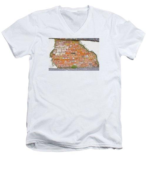 Men's V-Neck T-Shirt featuring the photograph Brick And Mortar by Wanda Krack