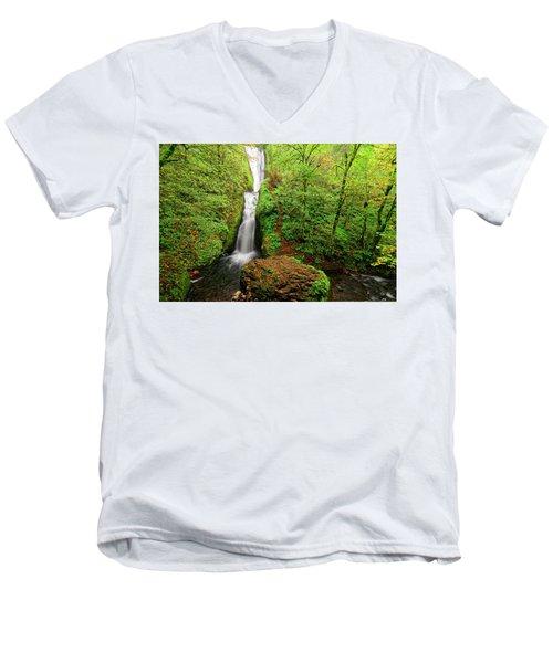 Bridal Veil Falls Men's V-Neck T-Shirt by Jonathan Davison