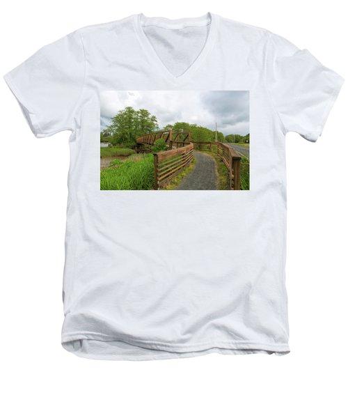 Bridge Along Lewis And Clark Hiking Trail  Men's V-Neck T-Shirt