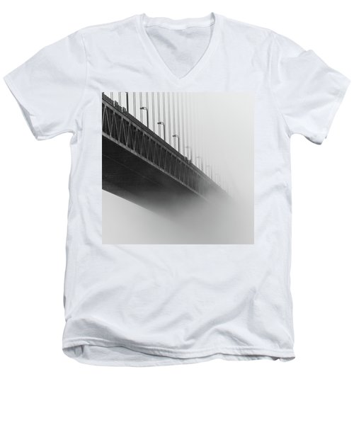 Men's V-Neck T-Shirt featuring the photograph Bridge In The Fog by Stephen Holst