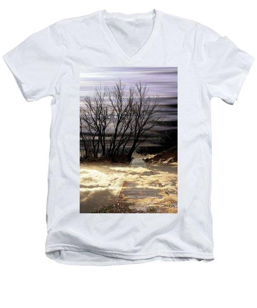 Bridge Men's V-Neck T-Shirt by Joan Ladendorf