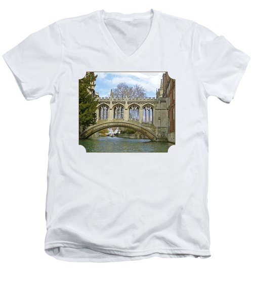 Bridge Of Sighs Cambridge Men's V-Neck T-Shirt by Gill Billington