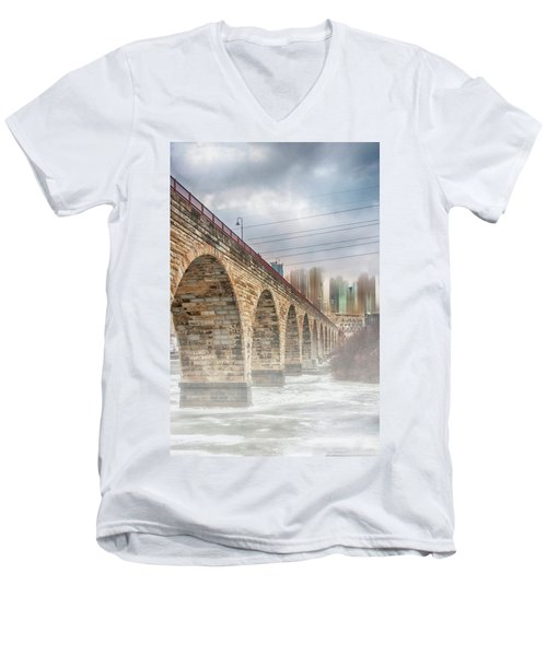Bridge Over Frozen Water Men's V-Neck T-Shirt