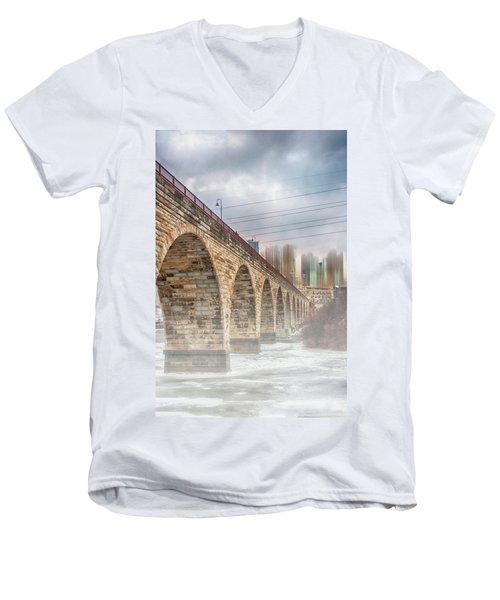 Bridge Over Frozen Water Men's V-Neck T-Shirt