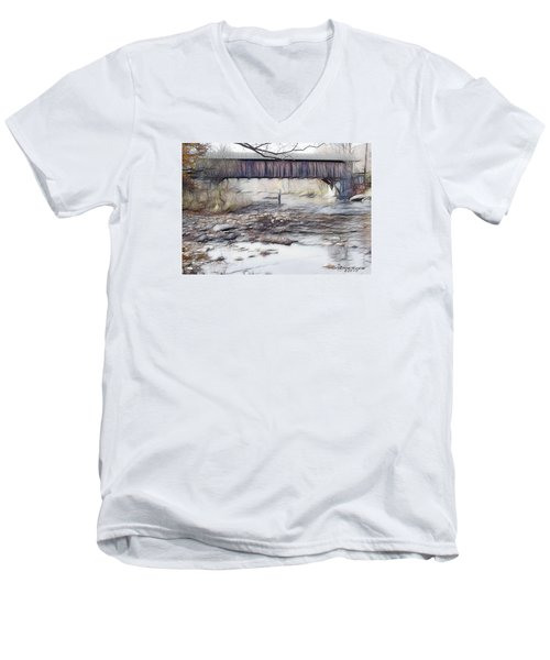 Men's V-Neck T-Shirt featuring the photograph Bridge Over Troubled Waters by EricaMaxine  Price