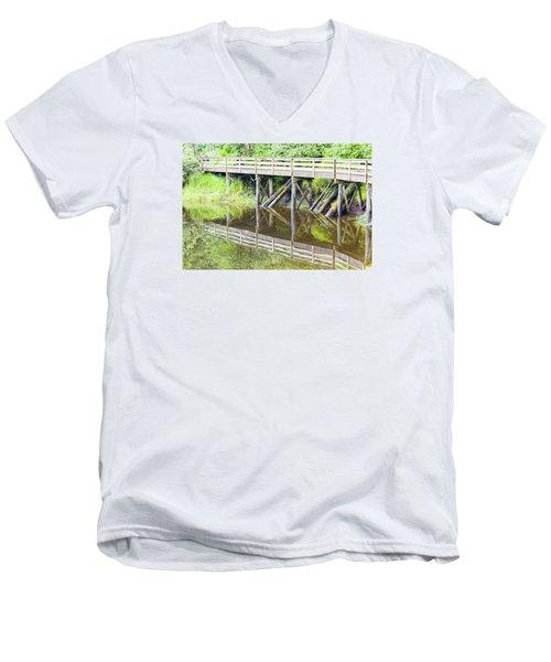 Bridge To Nowhere Men's V-Neck T-Shirt by Harold Piskiel