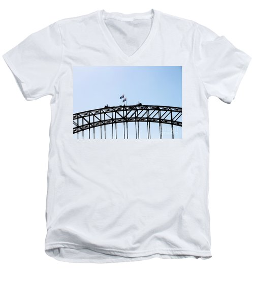 Men's V-Neck T-Shirt featuring the photograph Bridge Walk by Stephen Mitchell