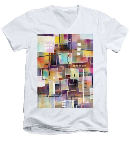 Men's V-Neck T-Shirt featuring the painting Bridging Gaps 2 by Hailey E Herrera