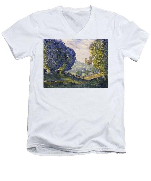 Bridlington Priory From Woldgate On The Hockney Trail Men's V-Neck T-Shirt