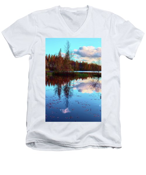 Bright Colors Of Autumn Reflected In The Still Waters Of A Beautiful Forest Lake Men's V-Neck T-Shirt