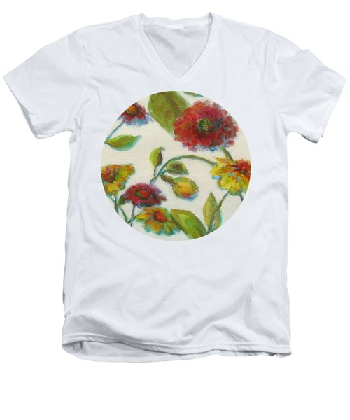 Bright Contemporary Floral  Men's V-Neck T-Shirt