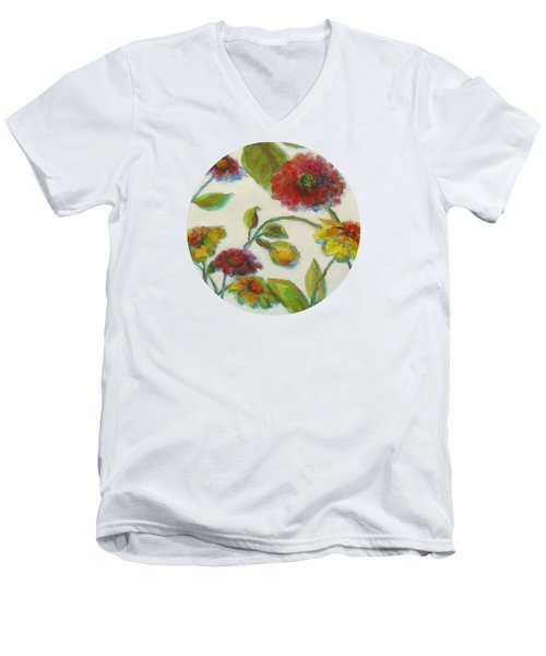 Bright Contemporary Floral  Men's V-Neck T-Shirt