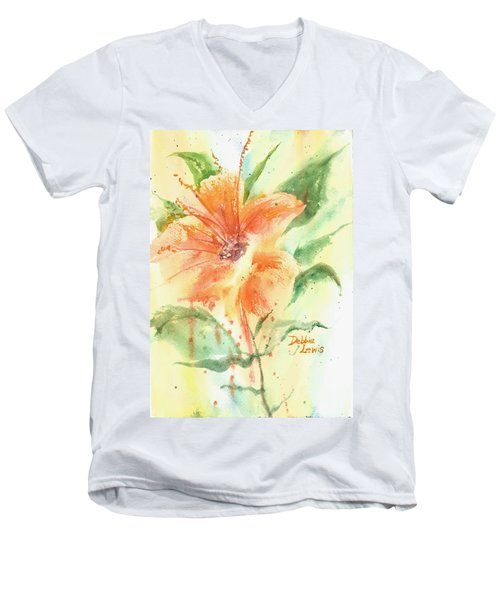 Bright Orange Flower Men's V-Neck T-Shirt