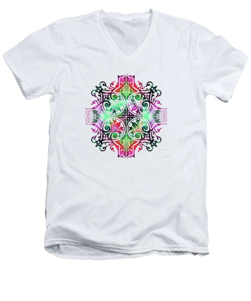Bright Pattern Art - Color Fusion Design 9 By Sharon Cummings Men's V-Neck T-Shirt