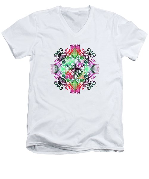 Bright Pattern Art - Color Fusion Design 9 By Sharon Cummings Men's V-Neck T-Shirt