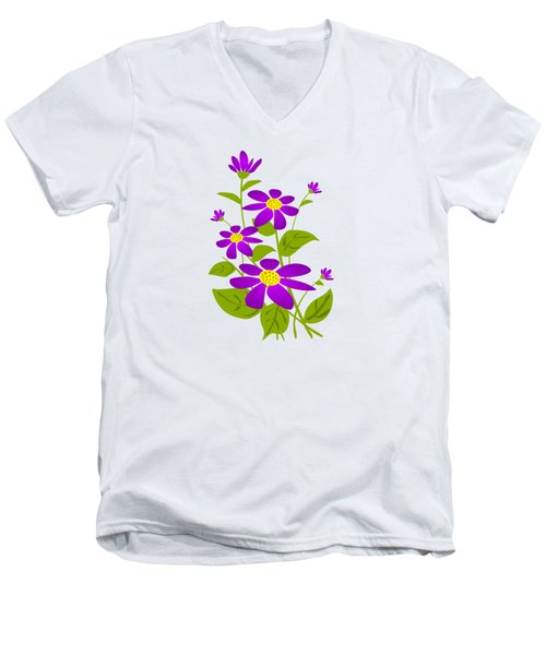 Bright Purple Men's V-Neck T-Shirt by Anastasiya Malakhova
