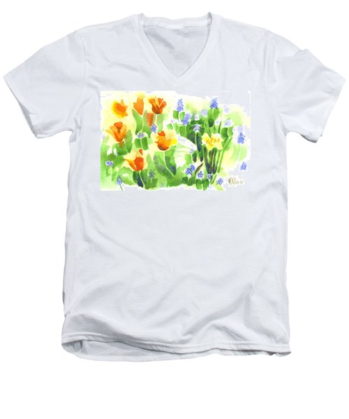Men's V-Neck T-Shirt featuring the painting Brightly April Flowers by Kip DeVore