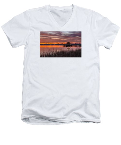 Men's V-Neck T-Shirt featuring the photograph Brittlebank Park Dock Charleston Sc by Donnie Whitaker