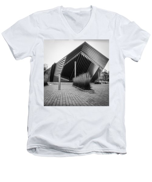 Men's V-Neck T-Shirt featuring the photograph Broad Art Museum by Larry Carr