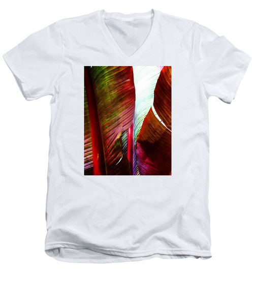 Broad Leaves Men's V-Neck T-Shirt by Timothy Bulone