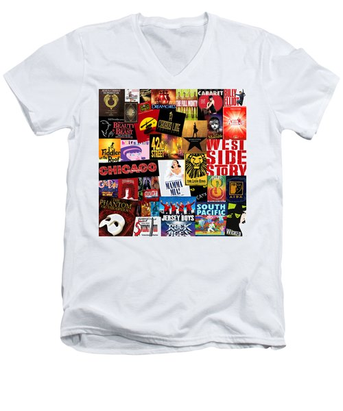 Broadway 10 Men's V-Neck T-Shirt by Andrew Fare