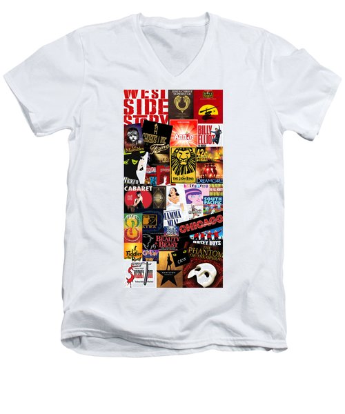 Broadway 9 Men's V-Neck T-Shirt by Andrew Fare