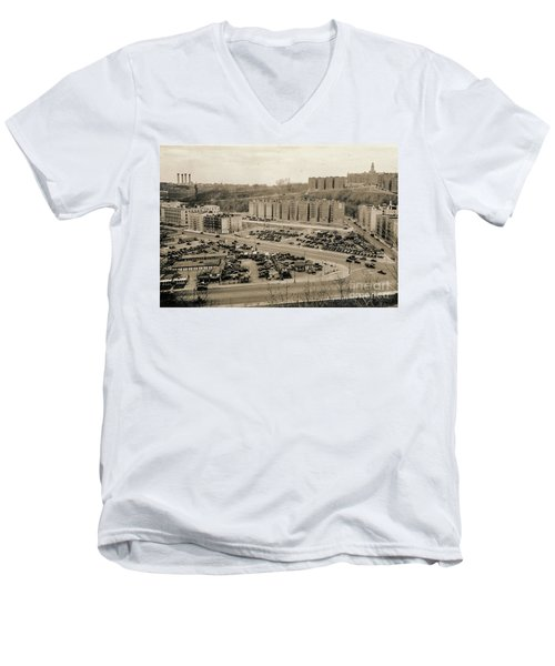 Broadway And Nagle Ave 1936 Men's V-Neck T-Shirt by Cole Thompson