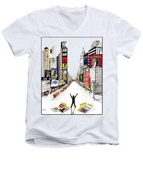 Men's V-Neck T-Shirt featuring the drawing Broadway Dreamin' by Marilyn Smith