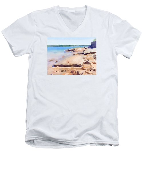 Broken Rock Walkway At Ten Pound Island Beach Men's V-Neck T-Shirt