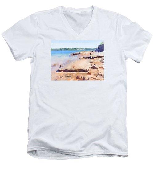 Broken Walkway Rock At Ten Pound Island Beach Men's V-Neck T-Shirt by Melissa Abbott