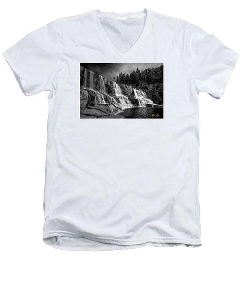 Men's V-Neck T-Shirt featuring the photograph Brooding Gooseberry Falls by Rikk Flohr