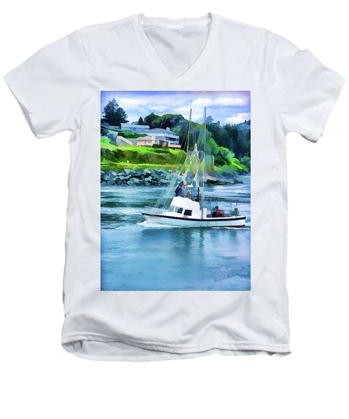 Brookings Boat Oil Painting Men's V-Neck T-Shirt by Wendy McKennon
