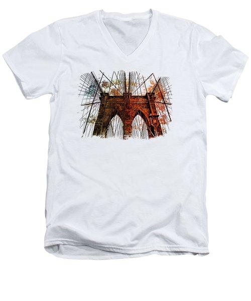 Brooklyn Bridge Art 1 Men's V-Neck T-Shirt