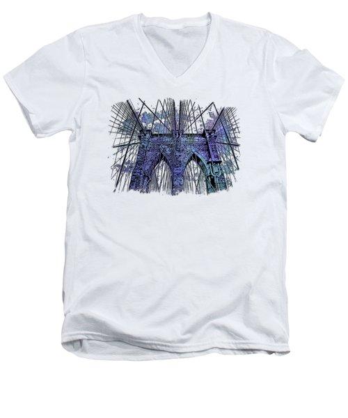 Brooklyn Bridge Berry Blues 3 Dimensional Men's V-Neck T-Shirt