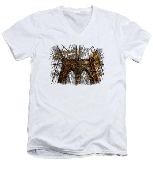Brooklyn Bridge Earthy 3 Dimensional Men's V-Neck T-Shirt by Di Designs