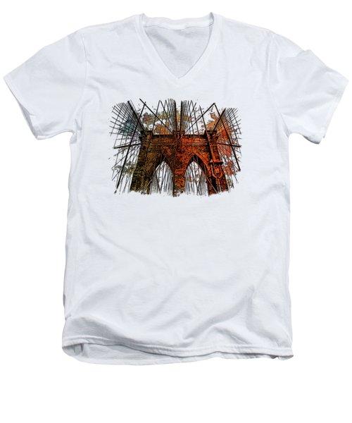 Brooklyn Bridge Earthy Rainbow 3 Dimensional Men's V-Neck T-Shirt by Di Designs