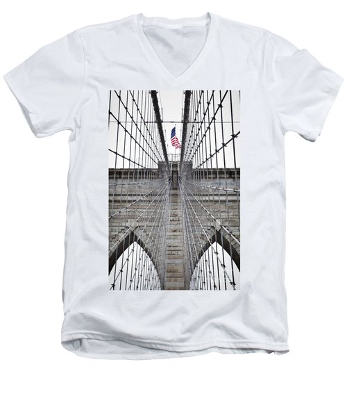 Men's V-Neck T-Shirt featuring the photograph Brooklyn Bridge Flag by Peter Simmons