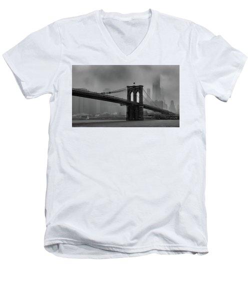 Brooklyn Bridge In A Storm 2 Men's V-Neck T-Shirt