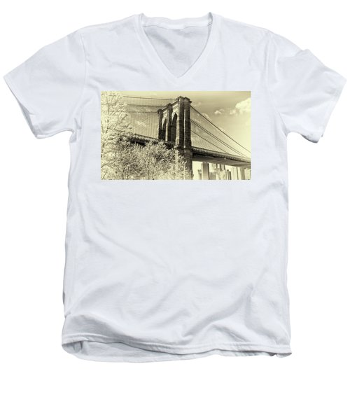 Brooklyn Bridge Men's V-Neck T-Shirt by John Hoey