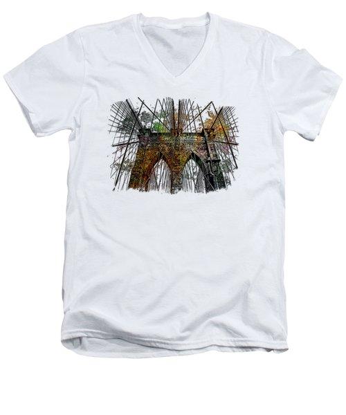 Brooklyn Bridge Muted Rainbow 3 Dimensional Men's V-Neck T-Shirt