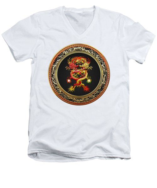 Brotherhood Of The Snake - The Red And The Yellow Dragons On White Leather Men's V-Neck T-Shirt by Serge Averbukh
