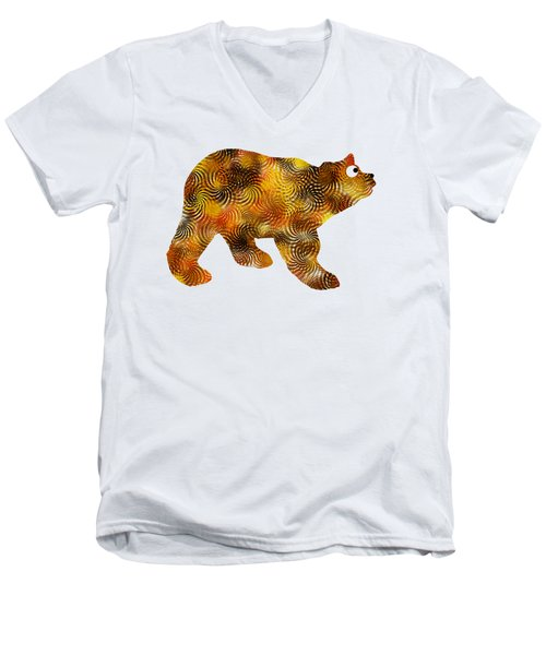 Brown Bear Silhouette Men's V-Neck T-Shirt by Christina Rollo