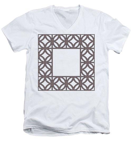 Brown Circles And Squares Men's V-Neck T-Shirt