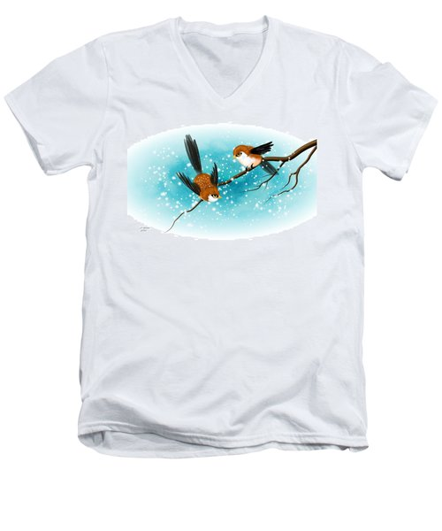 Brown Swallows In Winter Men's V-Neck T-Shirt