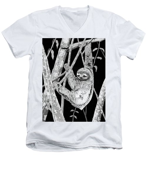 Brown-throated Three-toed Sloth Men's V-Neck T-Shirt